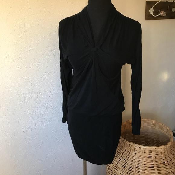 Bcbgmaxazria Dresses Bcbg Black Mini Dress Long Sleeves Poshmark